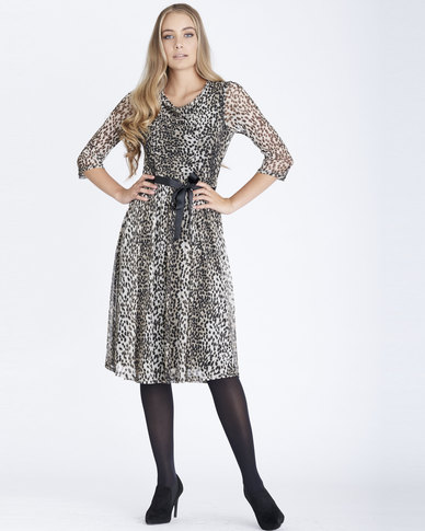 Contempo Animal Mesh Rouched Front Dress Brown