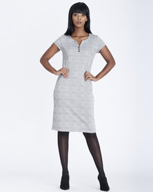 Contempo Jaquard Check Dress Grey