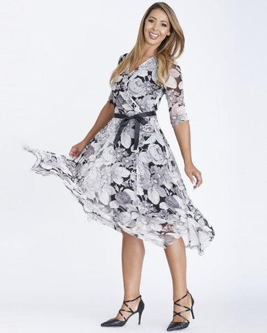 Contempo Rose Print Hanky Hem Flare Dress Grey