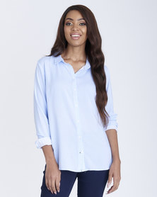 Contempo Button Through Blouse Blue