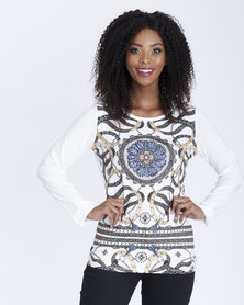 Contempo Long Sleeve Print Front Tee Ivory
