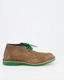 Veldskoen Brown Leather Shoes Green Sole