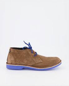 Veldskoen Brown Leather Shoes Blue Sole
