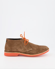 Veldskoen Brown Leather Shoes Orange Sole