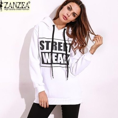 Zanzea Casual Sweatshirt White