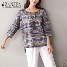 ZANZEA Women Autumn Boho Floral O Neck 3/4 Sleeve Blouse Casual Vintage Shirt Cotton Linen Baggy Top Blusas Tunic Plus Size Blue