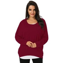 Zanzea Womens Casual Loose Long Sleeve Sweater Crew Neck Shirt Pullover Jumper Tops Wine Red