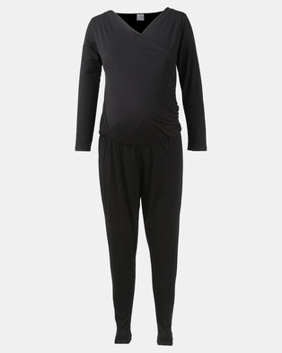 Hannah grace Maternity Long Sleeve Black Jumpsuit