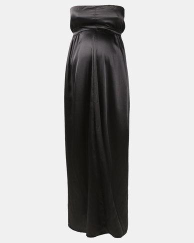 Hannah Grace Maternity satin Black evening Dress