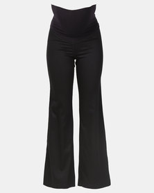 Hannah Grace Black Viscose Maternity work Pants with band