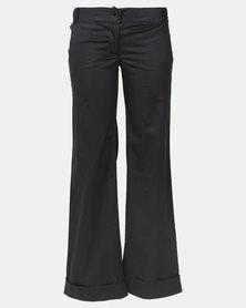 Hannah Grace Meoli Black Flared Polyester Work Pants with folded hem