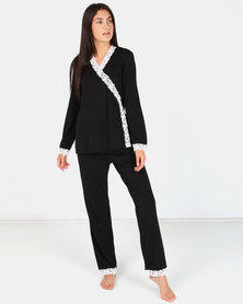 Lila Rose Lace Cross Over PJ Black & Milk