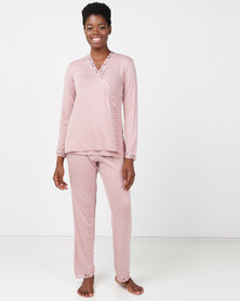 Lila Rose Lace Cross Over PJ Blush & Milk