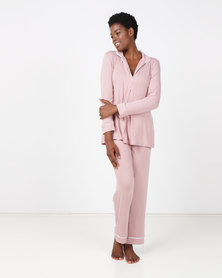 Lila Rose V-neck Piping Detail PJ Set Blush & Milk