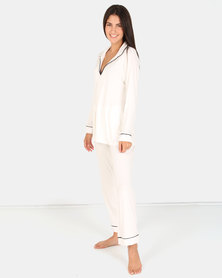 Lila Rose V-neck Piping Detail PJ Set Milk & Black