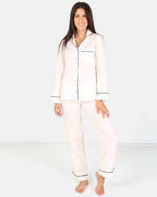 Lila Rose Classic Long Cotton PJ Set White