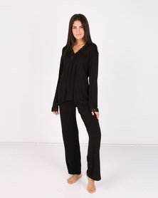 Lila Rose Lace Inset PJ Set Black