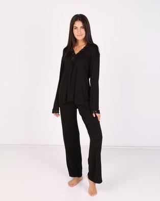 Lila Rose Lace Inset PJ Set Black