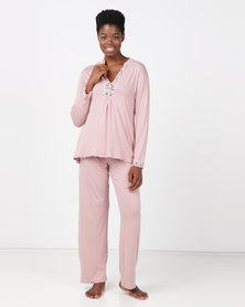 Lila Rose Lace Inset PJ Set Blush