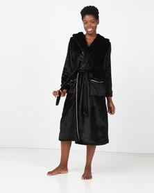 Lila Rose Lux Velour Hoodie Robe Black