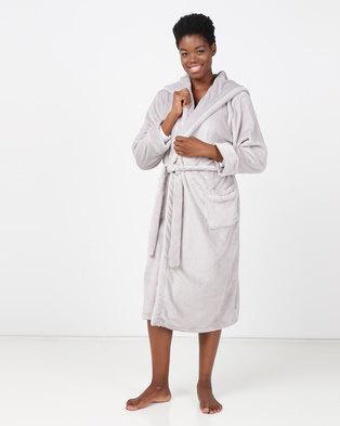 Lila Rose Lux Velour Hoodie Robe Grey