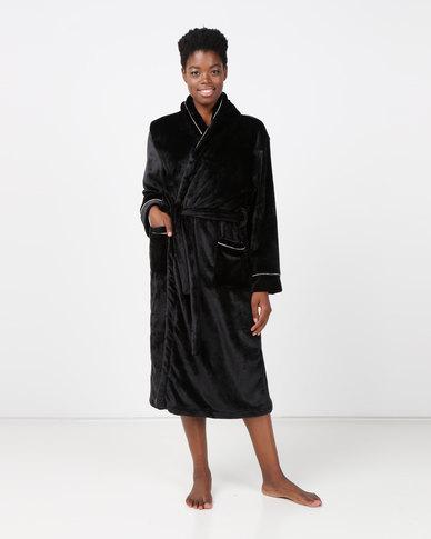 Lila Rose Shawl Collar Robe Black