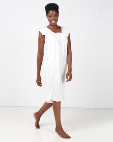 Lila Rose Short Sleeve Grecian Chemise Milk