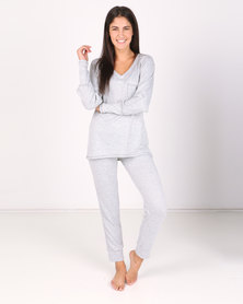 Lila Rose Knitted Tracksuit Set GreyMilk
