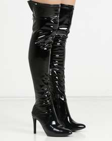 Miss Black Belle 5 OTK Boots Patent Black