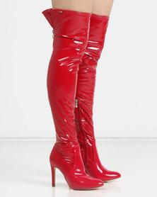 Miss Black Belle 5 OTK Boots Patent Red