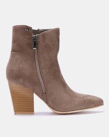 Miss Black Latifah Ankle Block Heel Boots Taupe