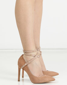 Miss Black Miley Ankle-Strap Court Heels Nude