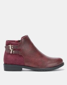 Jada Belted Biker Ankle Boots Burgundy