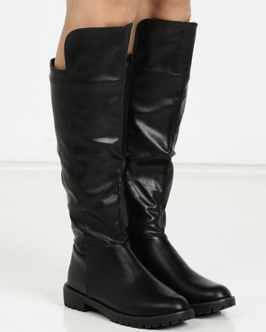 Jada Knee High Cleated Sole Boots Black