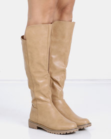 Jada Knee High Cleated Sole Boots Sand