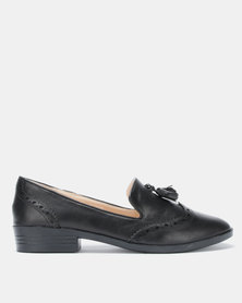 Jada PU Brogue Tassel Loafers Black
