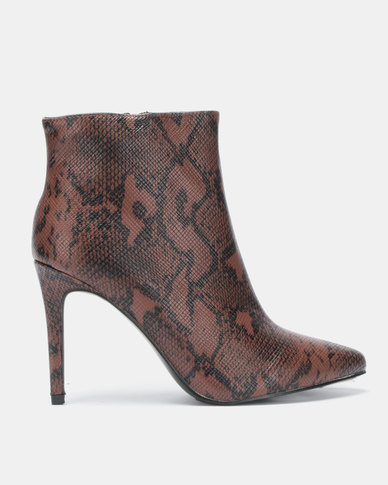 Jada Faux Snake Pointy Ankle Boots Brown