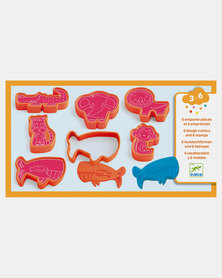 Djeco Play Dough - 6 press moulds & 6 stamps - Wild animals