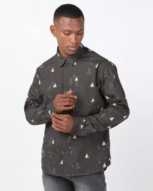 Chester St Camper Long Sleeve Shirt Charcoal
