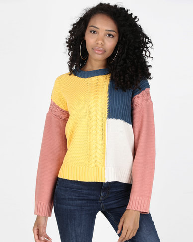 All About Eve Panelled Knit Crew Multi