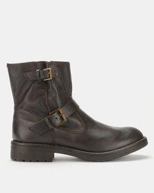 Tsonga Leather Senkolo Ankle Boots Choc Impala