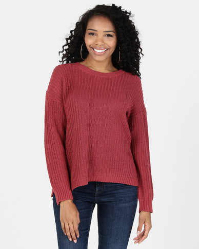 Silent Theory Intern Knit Crew Top Burgundy
