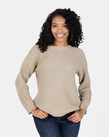 Silent Theory Intern Knit Crew Top Tan