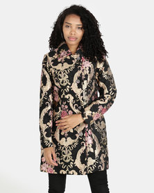 cath.nic By Queenspark Roses Are Pink Damask Woven Coat Black