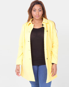 Queenspark Plus Zigzag Button Knit Coat Yellow