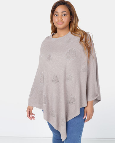 Queenspark Plus Heart To Heart Poncho Knitwear Taupe