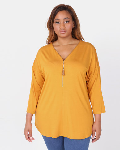 Queenspark Plus Zip Trim 3/4 Sleeve Dropped Shoulder Knit Top Mustard