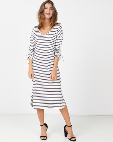 Queenspark Private Label Striped 3/4 Sleeve Knit Dress Navy/White