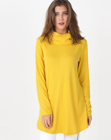 Queenspark Private Label Turtle Neck Cut & Sew Long Sleeve Knit Top Yellow