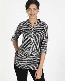 Queenspaek Animal Print Burnout Knit Top Brown